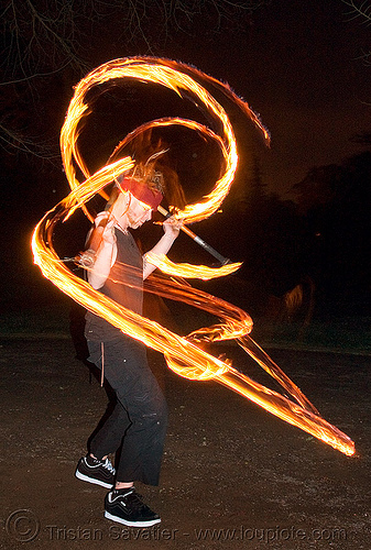ro spinning fire staffs (san francisco), double staff, fire dancer, fire dancing, fire performer, fire spinning, fire staves, flames, long exposure, night, people