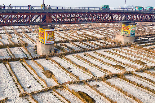 road bridge on ganges river floodplain (india), advertising, agriculture, bridge pillars, floodplain, ganga, ganges river, india, metal bridge, painted ad, riverbed, sand, truss bridge