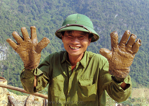 road construction worker - gloves - vietnam, asphalt, bitumen, gloves, green, groundwork, hands, macadam, man, pavement, paving, petroleum, road construction, roadworks, worker