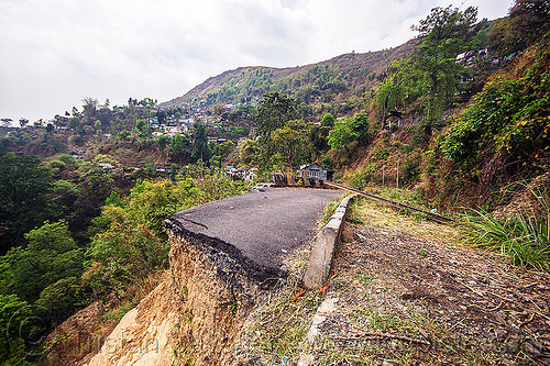 road destroyed by landslide (india), broken, darjeeling, mountain road, tindharia landslide