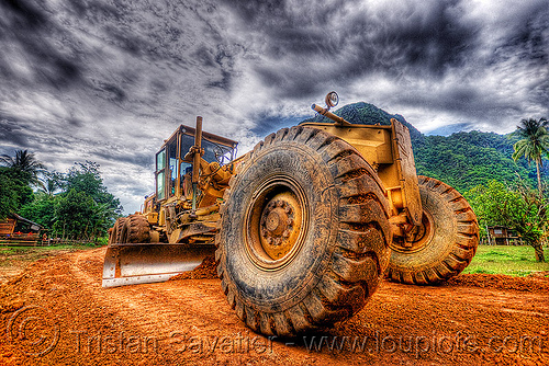 road grader - caterpillar CAT 14G (140G), at work, cat grader, caterpillar 140g, caterpillar 14g road grader, caterpillar road grader, groundwork, heavy equipment, hydraulic, machinery, motor grader, mud tires, road construction, roadworks, wheels, working, yellow