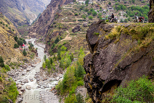 road on cliff - dhauliganga valley (india), cliff, dhauliganga river, dhauliganga valley, india, motorcycle touring, motorcycles, mountain road, mountains, raini chak lata, rock, royal enfield bullet, village