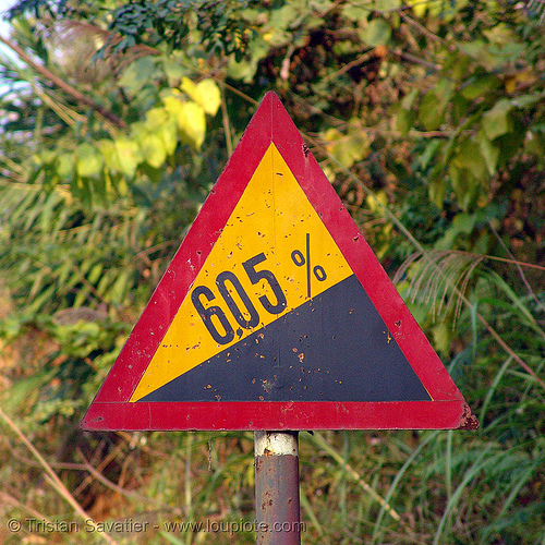 road sign - grade 6.05%! - vietnam, bad sign, danger, grade, red, road sign, slope, steep, traffic sign, triangle, triangular, warning, yellow