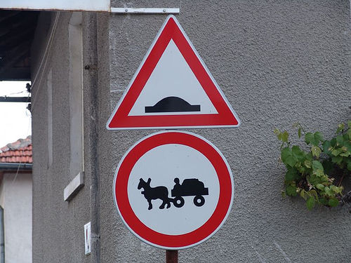 road signs - donkey carts not allowed (bulgaria), chariot, donkey cart, forbidden, horse cart, round, traffic signs, triangle, triangular