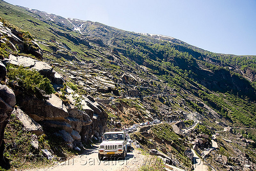 road to rohtang pass - manali to leh road (india), india, road, rohtang pass, rohtangla, traffic jam