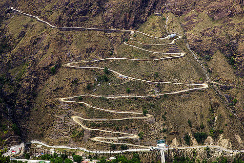 road with switchbacks (india), mountain road, mountains, vishnuprayag hydro project