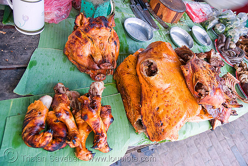 roasted pork (pig) on the market - luang prabang (laos), cooked, food, luang prabang, market, meat, pig, pork, roasted