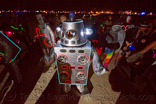 robot dance party - burning man 2012, burning man, costumes, dance party robot, dancing, music, night, robot dance party, robots, sound system, speakers