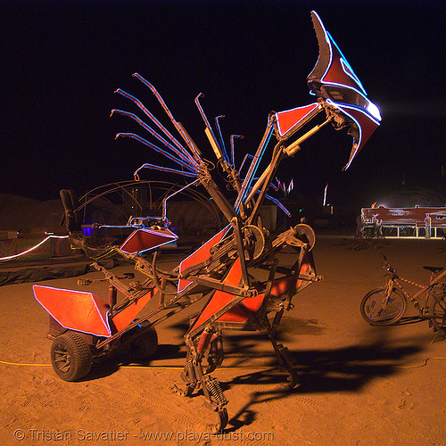 the robotic chariot aka the mantis - burning man 2007, 58, art car, burning man, denis shcheglov, night, praying mantis, robotic chariot