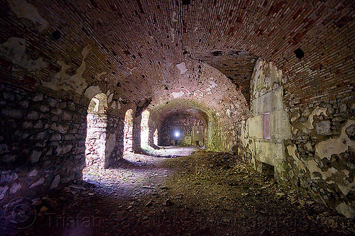 rocca D'anfo - brick vaults - military fortification ruins, brick, dark, fortifications, inside, interior, military architecture, military fort, no trespassing, old fortification, rocca d'anfo, ruins, vaults