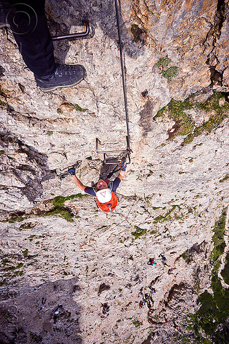 rock climber on vertical cliff, alps, cliff, climber, climbing harness, climbing helmet, dolomites, dolomiti, ferrata tridentina, ladder, mountain climbing, mountaineer, mountaineering, mountains, rock climbing, vertical, via ferrata brigata tridentina, woman