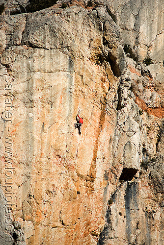rock climber on vertical cliff - montagne sainte victoire (france), aix-en-provence, climber, france, montagne sainte victoire, mountain climbing, mountaineer, mountaineering, rock climbers, rock climbing, sheer cliff