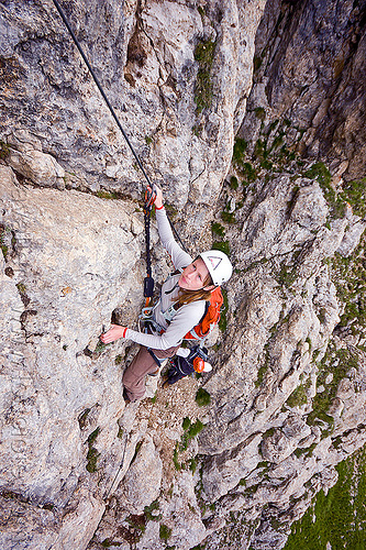 rock climber - via ferrata, alps, cliff, climber, climbing harness, climbing helmet, dolomites, dolomiti, mountain climbing, mountaineer, mountaineering, mountains, rock climbing, vertical, via ferrata col rodella, woman