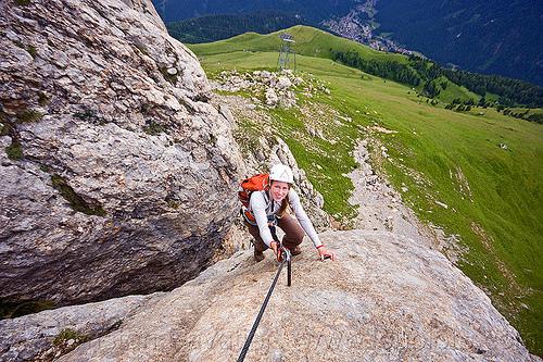 rock climber - via ferrata col rodella, alps, cliff, climber, climbing harness, climbing helmet, dolomites, dolomiti, mountain climbing, mountaineer, mountaineering, mountains, rock climbing, vertical, via ferrata col rodella, woman