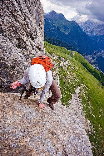 rock climber - via ferrata col rodella (dolomites), alps, cliff, climber, climbing harness, climbing helmet, dolomites, dolomiti, mountain climbing, mountaineer, mountaineering, mountains, rock climbing, vertical, via ferrata col rodella, woman