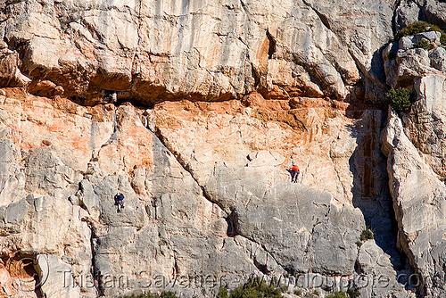 rock climbers, aix-en-provence, france, montagne sainte victoire, mountain climbing, mountaineer, mountaineering, rock climbers, rock climbing, sheer cliff
