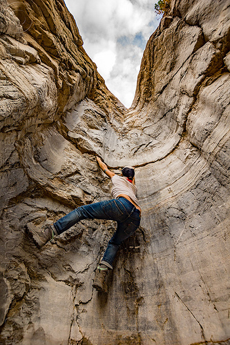 rock climbing the dry waterfall - fall canyon - death valley national park (california), cliff, death valley, fall canyon, hiking, rock-climbing