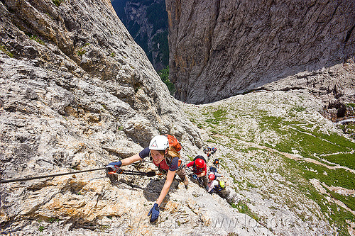 rock climbing - via ferrata tridentina (dolomites), alps, cliff, climber, climbing harness, climbing helmet, dolomiti, mountain climbing, mountaineer, mountaineering, mountains, people, vertical, via ferrata brigata tridentina, woman