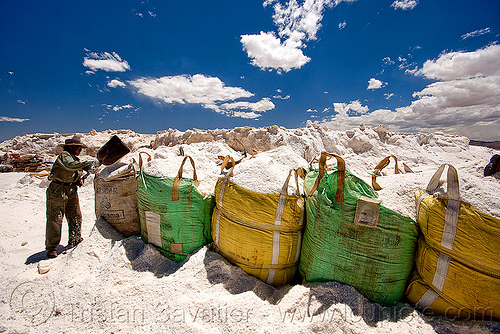 rock salt mining, blue sky, bulk, exploitation, halite, industrial bags, jujuy, noroeste argentino, rock salt, sacks, salar, salinas grandes, salt bags, salt bed, salt flats, salt lake, salt mine, salt mining, white, worker, working