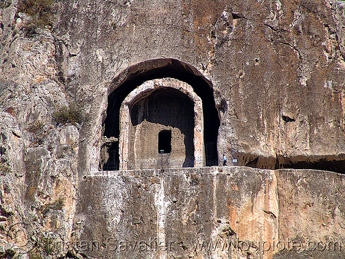 rock-tomb of a pontic king (amasya), amaseia, amasya, archaeology, cliff, harşena, man, mountain, pontic kings, pontus, rock cut, rock tombs, vertical