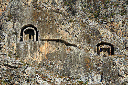 rock-tombs of the pontic kings (amasya), amaseia, amasya, archaeology, cliff, harşena, mountain, pontic kings, pontus, rock cut, rock tombs, vertical
