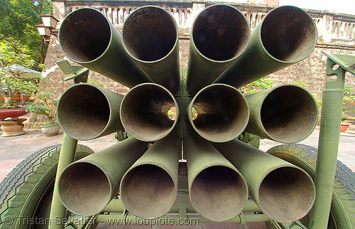 rocket launcher - vietnam, army museum, fisheye, hanoi, military, rocket launcher, tubes, vietnam war