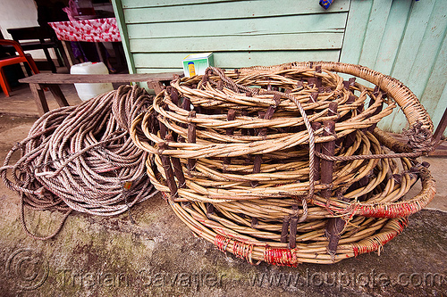 rolled rattan ladder used by bird's nests collectors - madai cave (borneo), bird's nest, caving, gua madai, ida'an, idahan, madai caves, natural cave, rattan ladder, rolled, rope ladder, spelunking