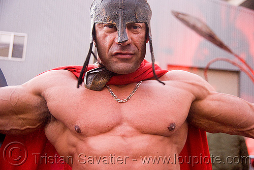 roman gladiator - bodybuilder - burning man decompression 2008 (san francisco), costume, guy, helmet, muscles, muscular, people, theatrical helmet, thorax