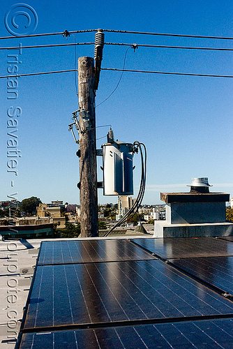 rooftop solar panels - power lines - electrical transformer, electrical lines, electrical transformer, electricity pole, photovoltaic array, power lines, rooftop, solar array, solar energy, solar panels