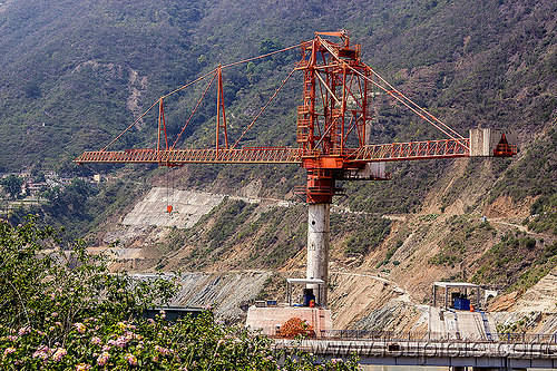 rotec tower-belt crane - shrinagar dam (india), alaknanda valley, construction crane, india, shrinagar dam