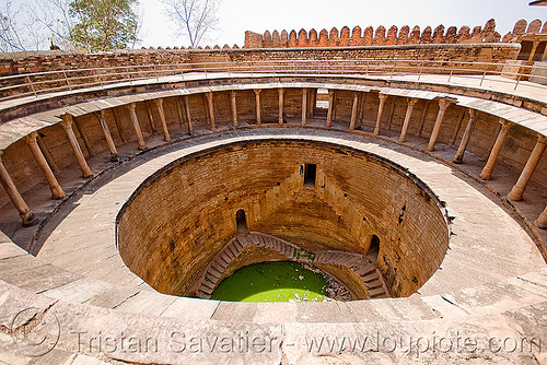 round stepwell, architecture, circular, columns, gwalior, stone, water well