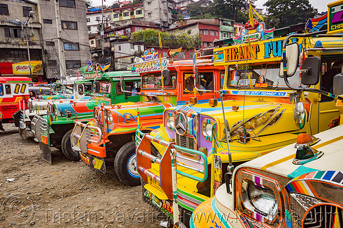 row of jeepneys in parking lot (philippines), baguio, colorful, decorated, jeepney, painted, philippines, truck