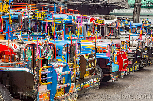 row of jeepneys (philippines), baguio, colorful, decorated, jeepney, painted, philippines, truck