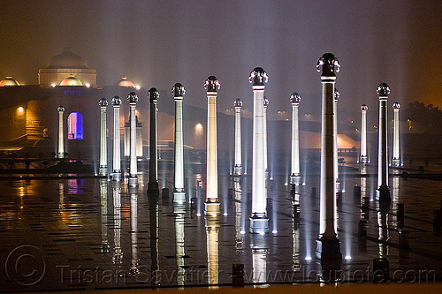 rows of columns - ambedkar stupa - ambedkar memorial, ambedkar park, architecture, dr bhimrao ambedkar memorial, lucknow, monument, night