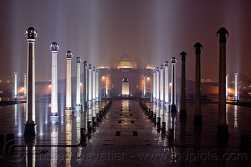 rows of columns - ambedkar stupa - ambedkar memorial, ambedkar park, architecture, dr bhimrao ambedkar memorial, lucknow, monument, night, perspective, vanishing point