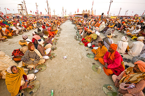 rows of hindu pilgrims sitting, eating holy prasad - kumbh mela 2013 (india), ashram, crowd, dinner, eating, food, hindu, hinduism, holy prasad, kumbha mela, maha kumbh mela, men, pilgrims, rows, sitting, yatris