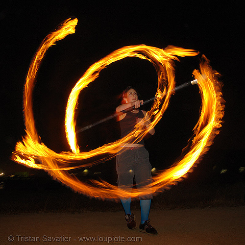 roxy spinning a fire staff, fire dancer, fire dancing, fire performer, fire spinning, fire staff, flames, long exposure, night, roxy, spinning fire