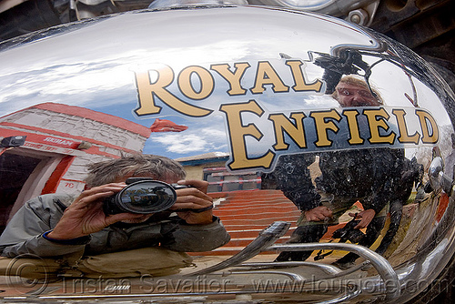 royal enfield motorcycle petrol tank (india), chrome, gas tank, ladakh, motorbike touring, motorcycle touring, petrol tank, reflection, road, royal enfield bullet