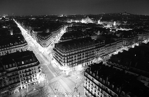 rue de rivoli (paris), aerial photo, city, cityscape, night, paris, skyline, tour saint-jacques, trespassing