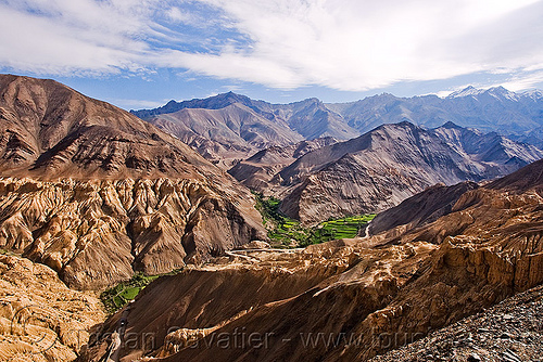 rugged landscape and green valley near lamayuru - leh to srinagar road - ladakh (india), india, ladakh, lamayuru, mountains, rugged, valley