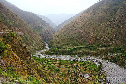 valley - road to ani - near jalori pass (india), canyon, gorge, river, roads, village, stock photo