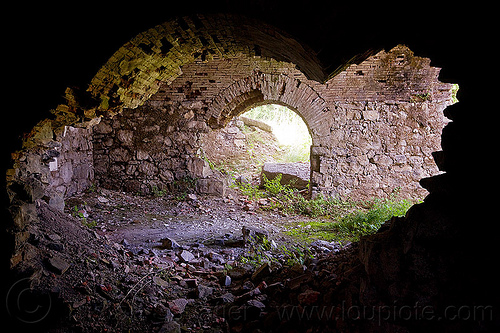 ruins of military fortification - rocca D'anfo (italy), brick, dark, fortifications, inside, interior, military architecture, military fort, no trespassing, old fortification, rocca d'anfo, ruins, vaults