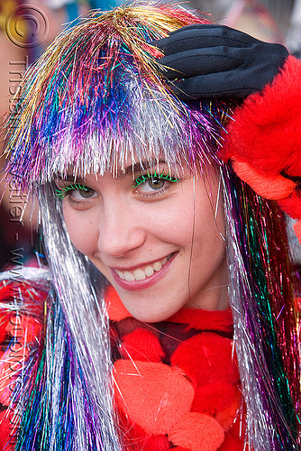 russian girl with rainbow glittery wig - burning man decompression 2008 (san francisco), glittery, rainbow colors, russian, wig, woman