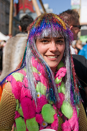 russian girl with rainbow wig (san francisco), festival, fur balls, fuzzy balls, how weird festival, neon color, people, rainbow colors, woman
