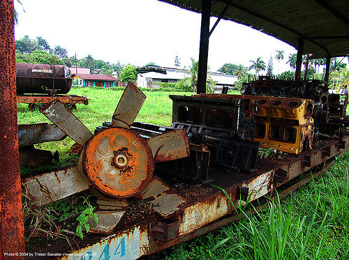 rusty-fan - train engine parts - semi-abandoned train yard in puerto limon (costa rica), atlantic railway, costa rica, puerto limon, rusty, train depot, train yard, trespassing