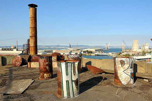 rusty smokestacks on roof, abandoned factory, derelict, industrial, metal, roof, rusted, rusty, smokestacks, tags, tie's warehouse, trespassing