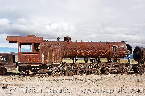 rusty steam locomotive  - train cemetery, abandoned, enfe, fca, railroad, railway, rusted, rusty, scrapyard, steam engine, steam locomotive, steam train engine, train cemetery, train graveyard, train junkyard, uyuni
