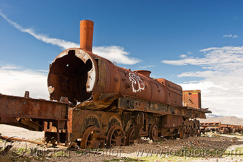 rusty steam locomotive - train cemetery - uyuni (bolivia), bolivia, enfe, fca, railroad, railway, rusty, scrapyard, steam engine, steam locomotive, steam train engine, train cemetery, train graveyard, train junkyard, uyuni