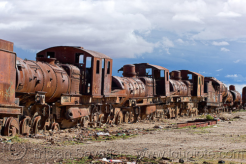 rusty steam locomotives - train cemetery, abandoned, enfe, fca, locomotive, railroad, railway, rusted, rusty, scrapyard, steam engines, steam locomotives, steam train engine, train cemetery, train engines, train graveyard, train junkyard, uyuni