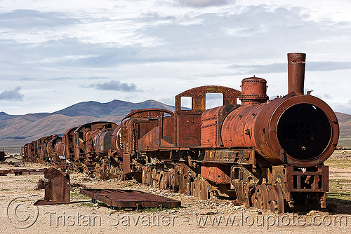 rusty steam locomotives - train cemetery - uyuni (bolivia), bolivia, enfe, fca, locomotive, railroad, railway, rusty, scrapyard, steam engine, steam locomotives, steam train engine, train cemetery, train engines, train graveyard, train junkyard, uyuni